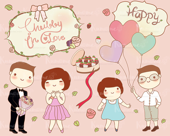 The Cute Chubby In Love Clipart Set