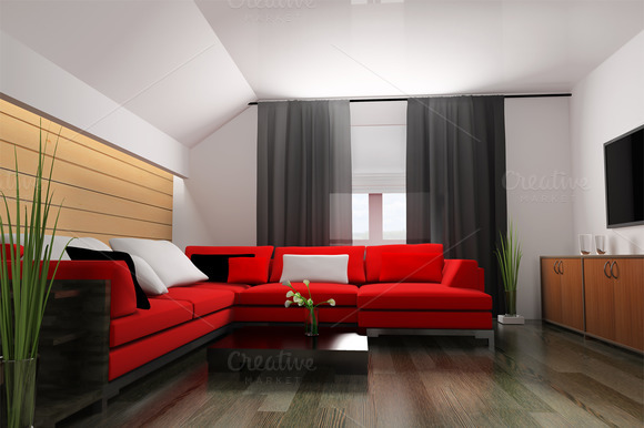 Red Sofa In Modern Interior