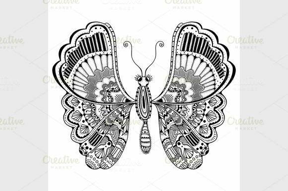 Zentangle Stylized Butterfly