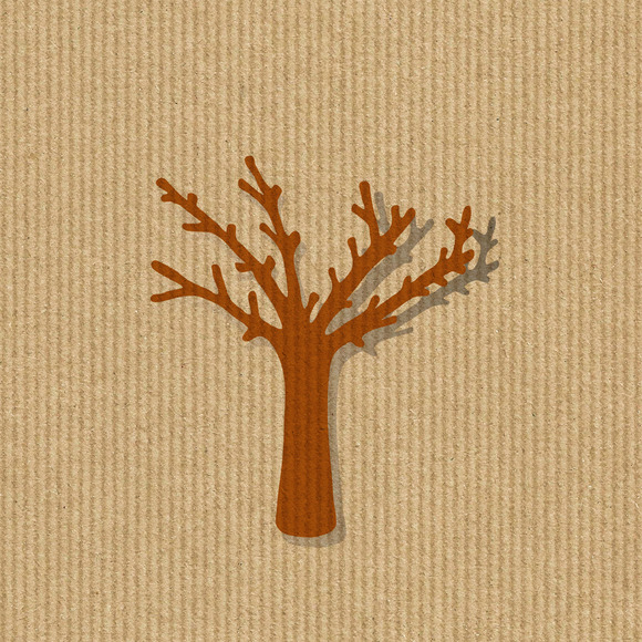 Dry Tree Silhouette On A Kraft Paper