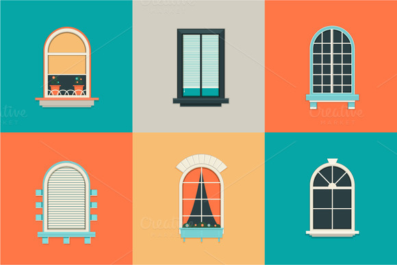 Vector Flat Set Of Icons For Windows