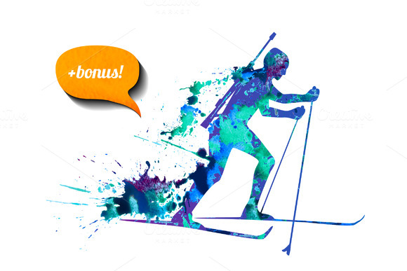 Biathlon Skier Bonus Vector