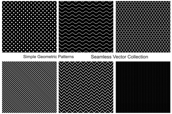Collection Of Seamless Patterns B W