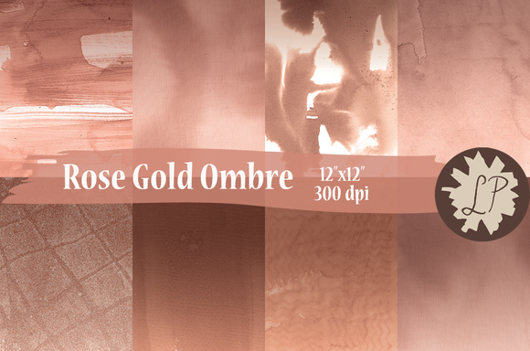 Rose Gold Ombre Watercolour Papers