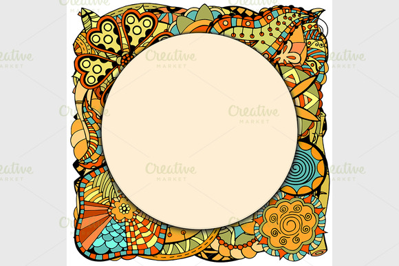 Papper Frame On Leaves And Flower