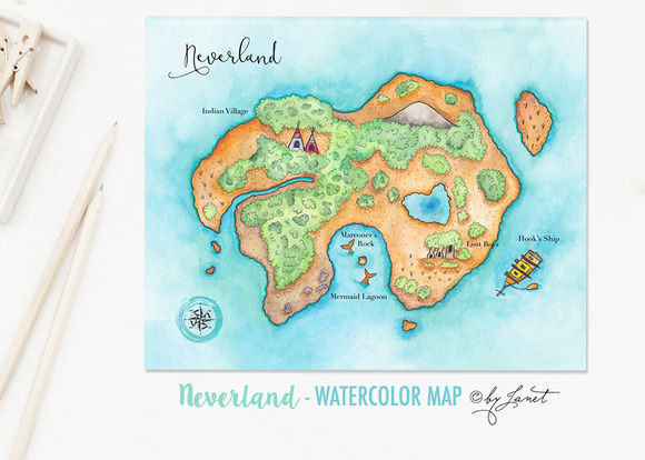 Neverland Watercolor Map