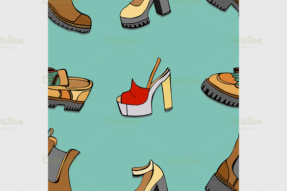 Seamless Background Of Shoes
