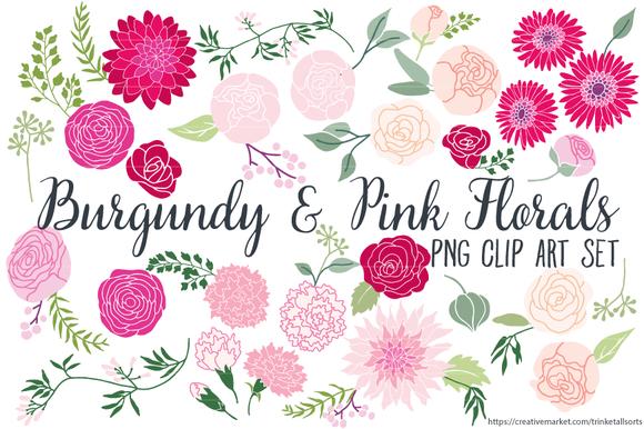 Burgundy Florals Clip Art PNG