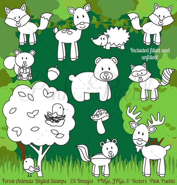 Forest Animals Digital Stamps