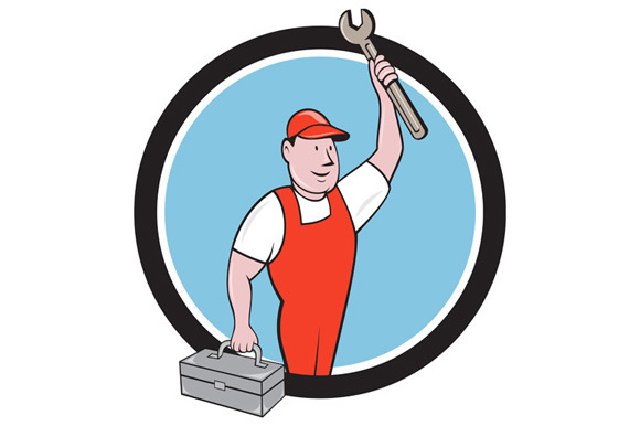 Mechanic Wrench Toolbox Circle
