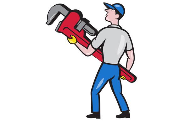 Plumber Carry Monkey Wrench Walking