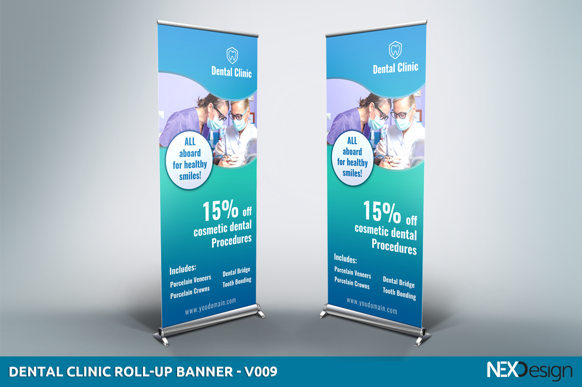 Free Exhibition Stand Mockup : Dental clinic roll up banner v presentation