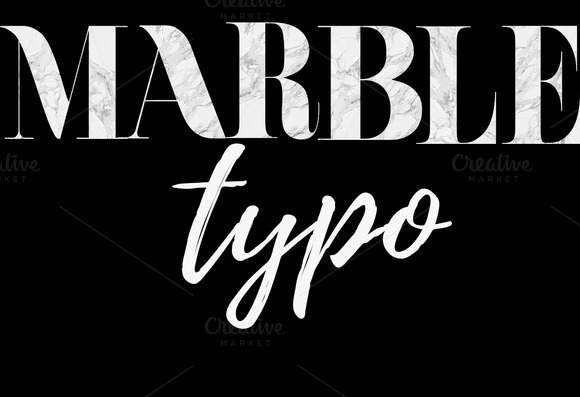 Marble Typo Art Letters Numbers