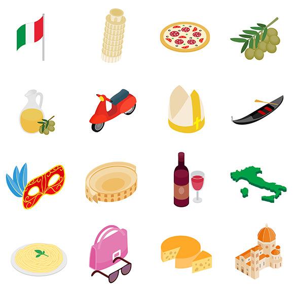 Italy Isometric 3D Icons