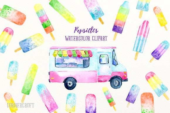Watercolor Clipart Popsicles