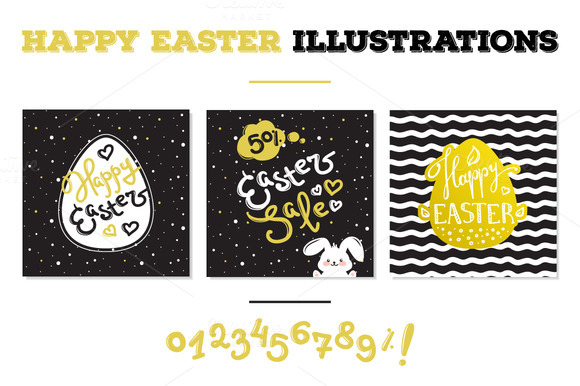 Happy Easter Hand Lettered Elements