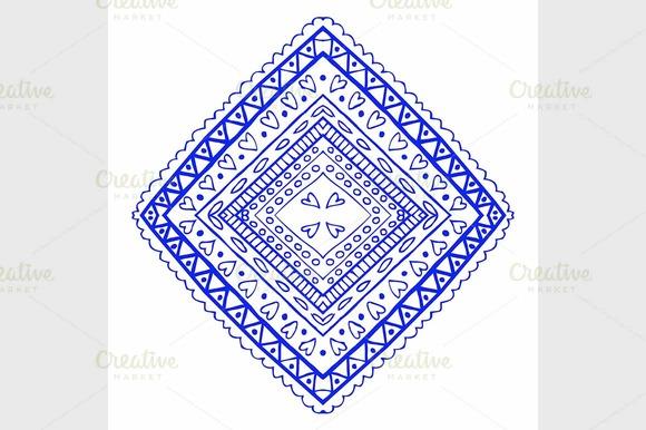 Round Blue Floral Ornament