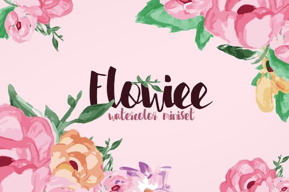 Flowiee Exotic Watercolor Flower Set