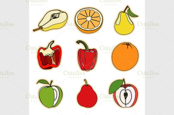 Set Of Fruits And Vegetation
