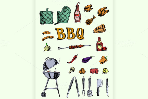Doodle Set Of Barbecue