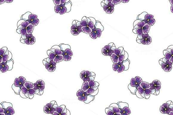 Pattern With Vintage Pansies Flower