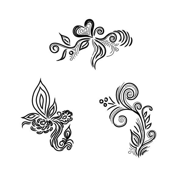 Flowers Sketch Decor Vector