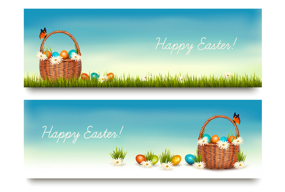 Two Happy Easter Banners Vector