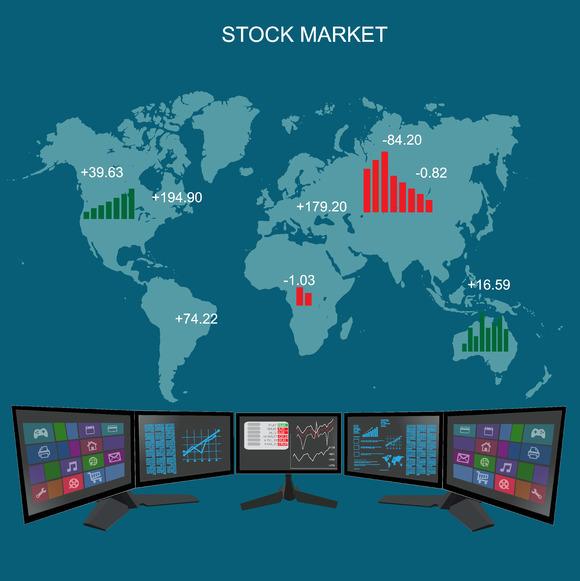 Stock Exchange Market Flat Style