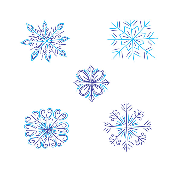 Snowflakes Christmas Vector Icons