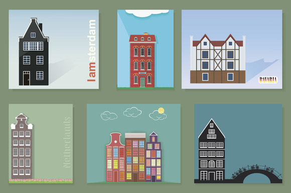 Vector Set Fasade Of Houses