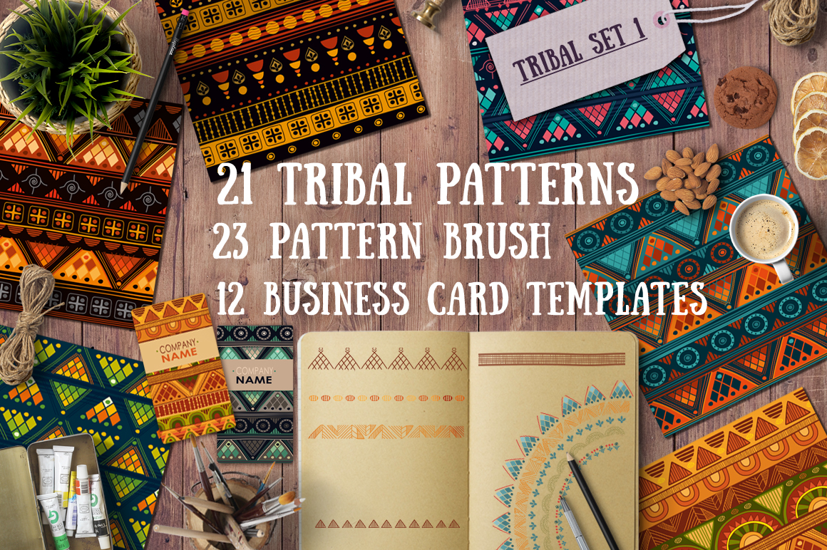 1.Tribal patterns, brushes and cards - Patterns - 1
