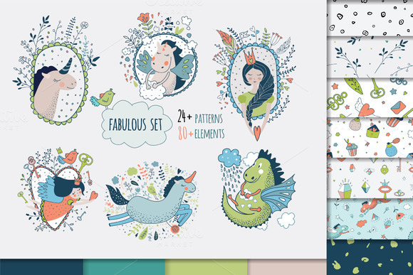 Vector set. Cute princess collection - Illustrations