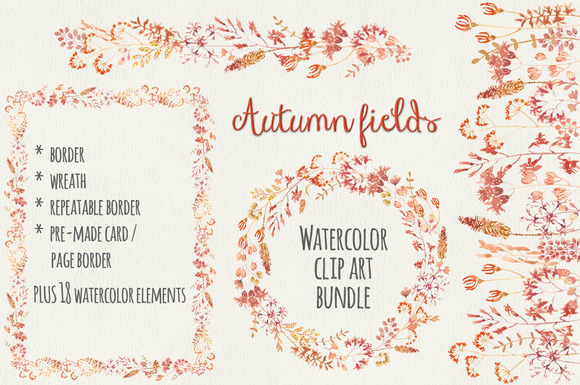 Watercolor Bundle Autumn Flowers