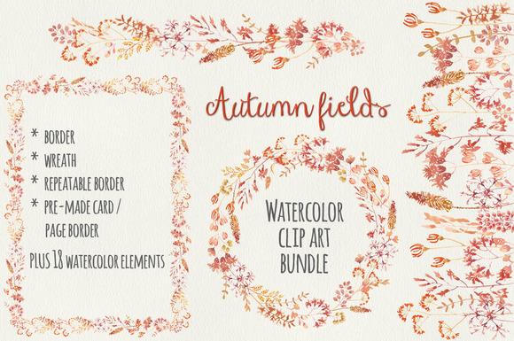 Watercolor Bundle Autumn Flowers