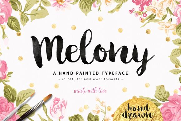 Melony Script Hand Drawn Brush Font