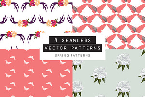 Spring Seamless Patterns Set of 4