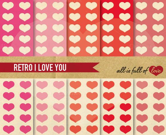 Pink Red Love Digital Paper Pack