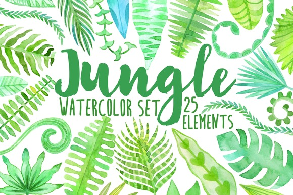 Watercolor jungle. Tropical leaves  - Illustrations