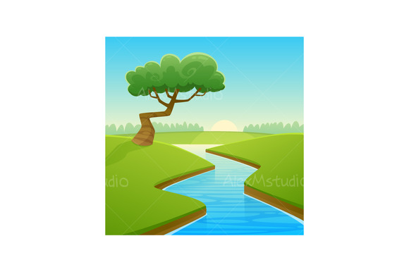 Summer Cartoon Landscape
