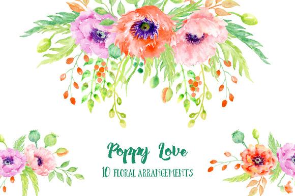 Watercolor Poppy Floral Arrangements
