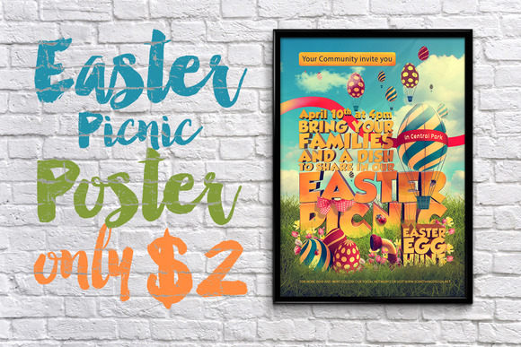 3D Easter Picnic Poster