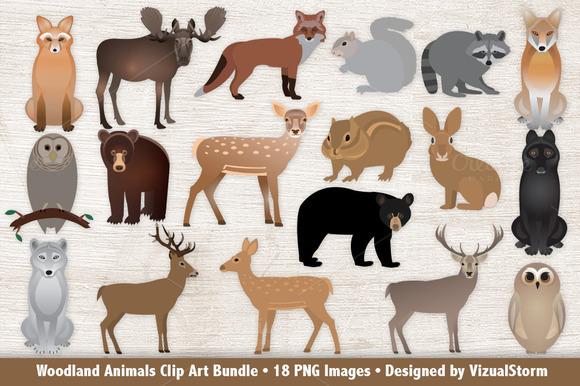 Woodland Animals Clip Art Bundle