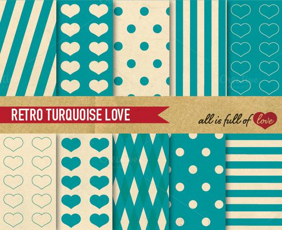 10 Turquoise Retro Backgrounds Set