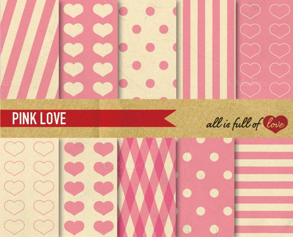 Pink Love Illustration Patterns Pack