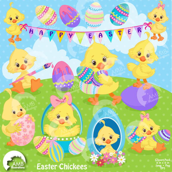 Easter Chicks Clipart AMB-1200
