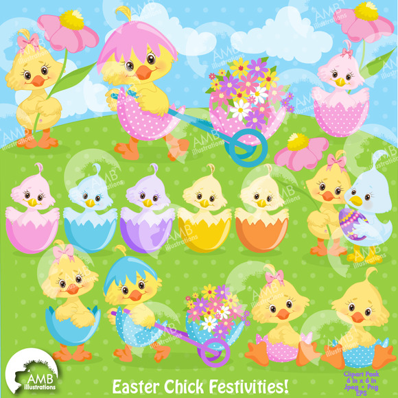Easter Chicks Clipart AMB-1201