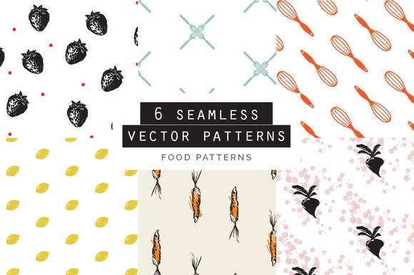 Food Seamless Patterns Set Of 6