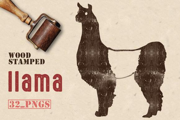 Wood Stamped Llama