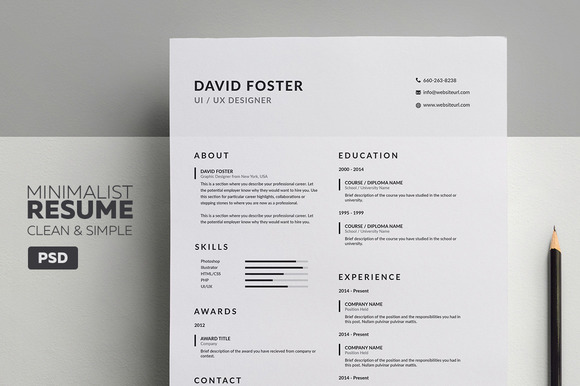 minimalist resume cv david resume templates on