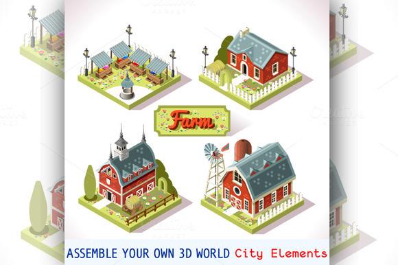 Farm Tiles City Map Isometric